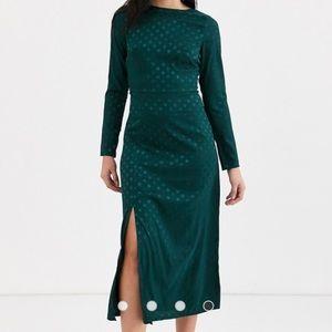 ASOS Green Long Sleeve Midi Dress